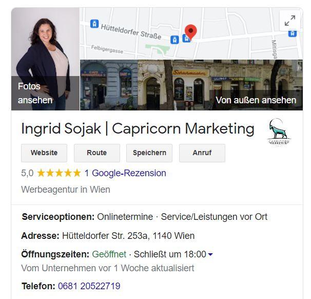 Google My Business Eintrag Capricorn Marketing
