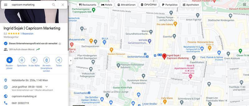 Maps Google My Business Eintrag Capricorn Marketing